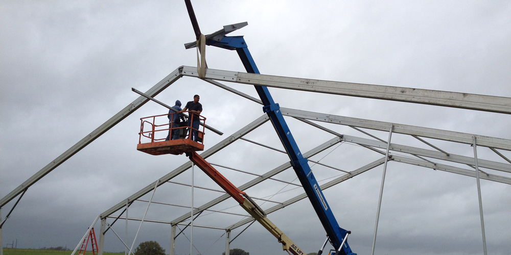 Building the tent structure