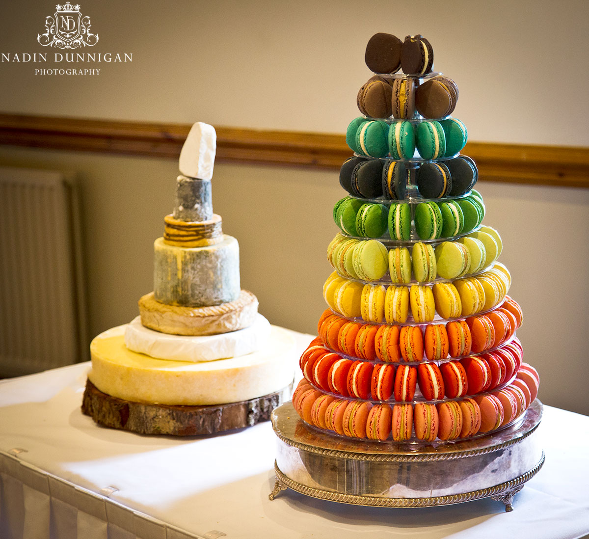 A french macaron tower and a cheese wedding cake, naked wedding cakes