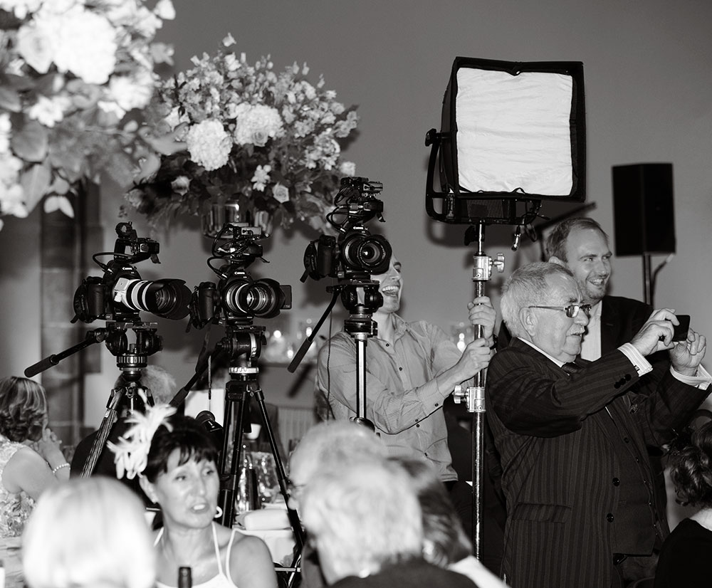 The setup for recording the speeches, Wedding photographer and wedding videographer