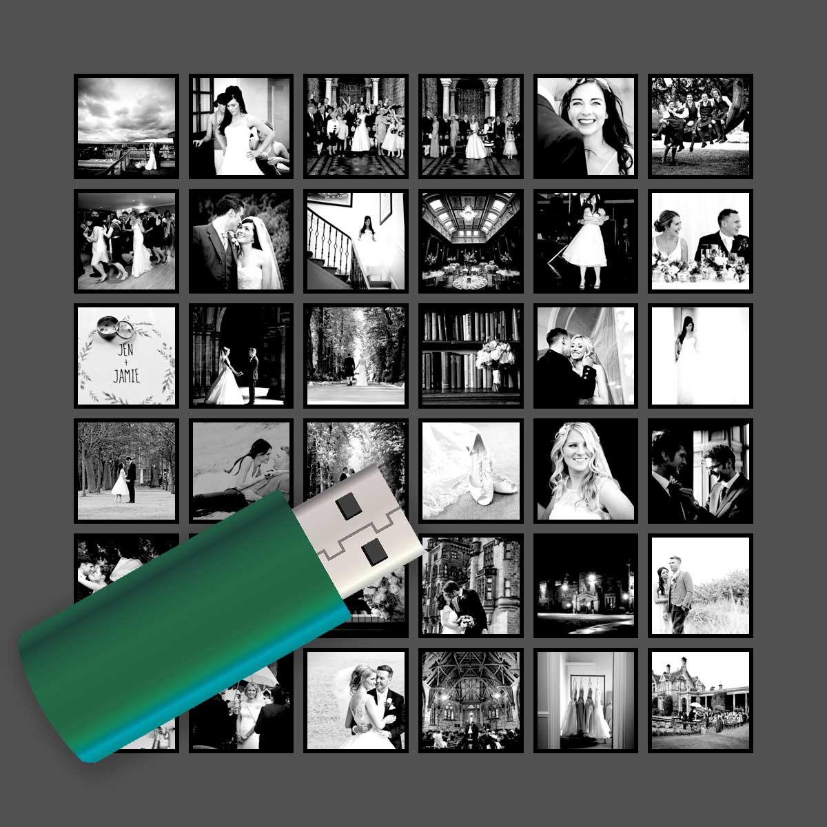 Digital images on a USB stick, wedding photography cost in Edinburgh