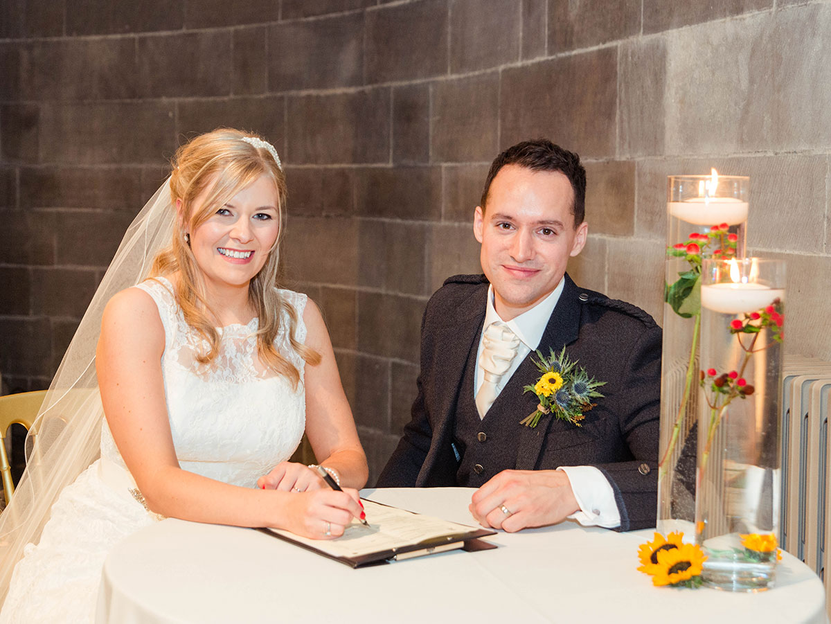 Signing the register, how long does a wedding photographer stay