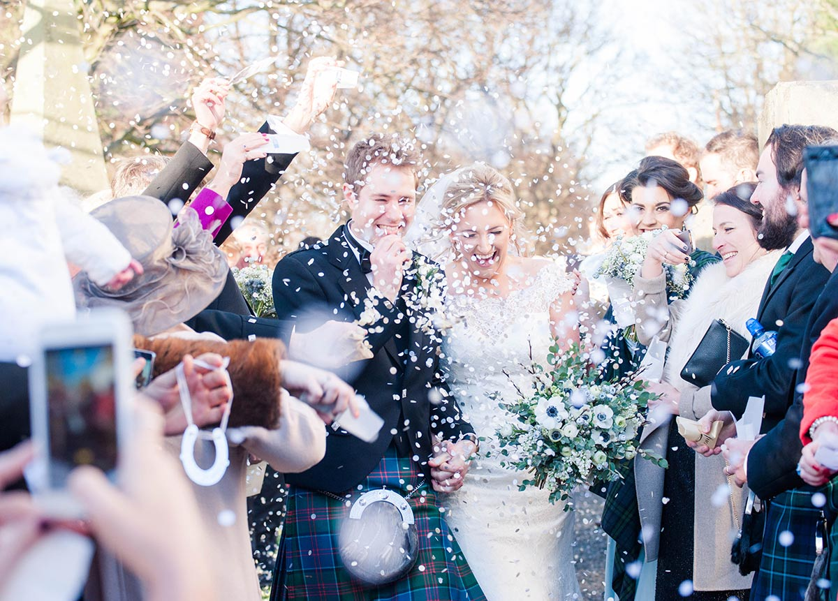 Showering the newly-weds with confetti, how long does a wedding photographer stay