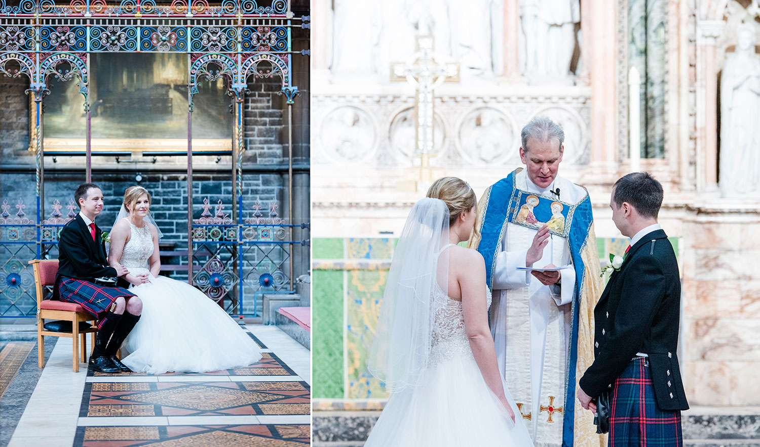 I loved this wedding at St Mary's Cathedral in Edinburgh! Lots of space to walk around, the minister was so lovely and the couple were totally relaxed and keen to have photos during the ceremony, best spot for the photographer during the wedding ceremony