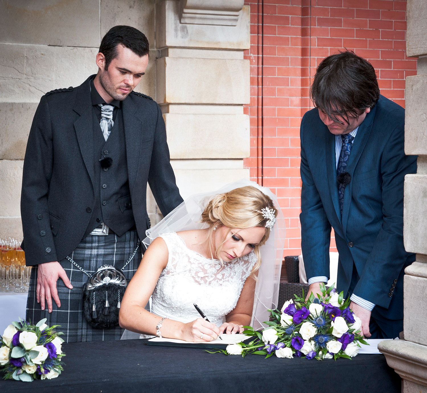 I usually take photos during the actual signing of the register, and if the couple want, I would then take a formal photograph after, together with the witnesses, as well as the couple themselves, best spot for the photographer during the wedding ceremony