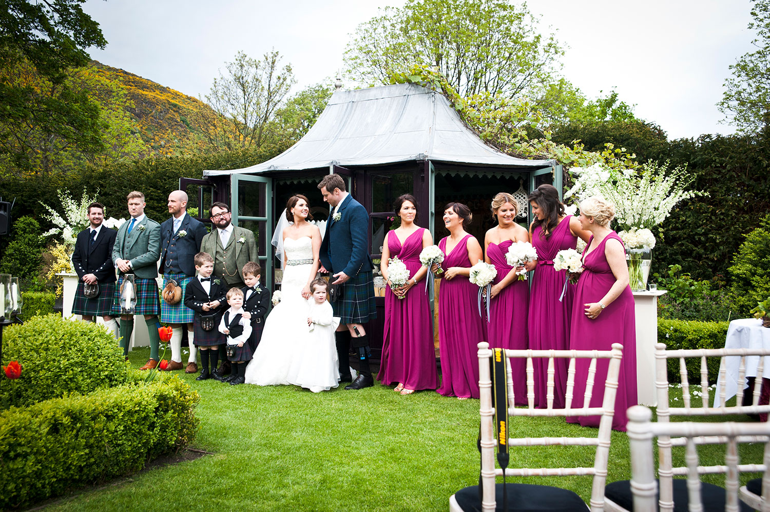 This was an outdoor ceremony at Prestonfield, best spot for the photographer during the wedding ceremony