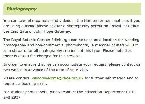 Royal Botanic Gardens Edinburgh photography, photography permit for Edinburgh parks