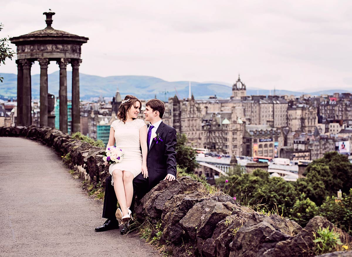 An amazing view from Calton Hill, Edinburgh, guide to getting married in Edinburgh city centre
