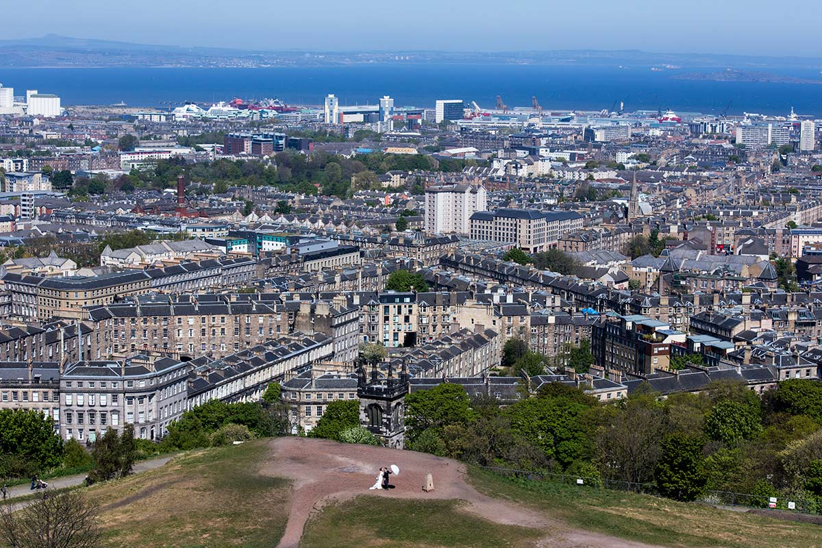 Setting the scene from above at Calton Hill, guide to getting married in Edinburgh city centre