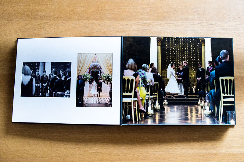 The photographs are individually printed and mostly assembled by hand - and displayed behind a matt. You can also have pages which are covered by one photograph (see above right),, wedding album styles