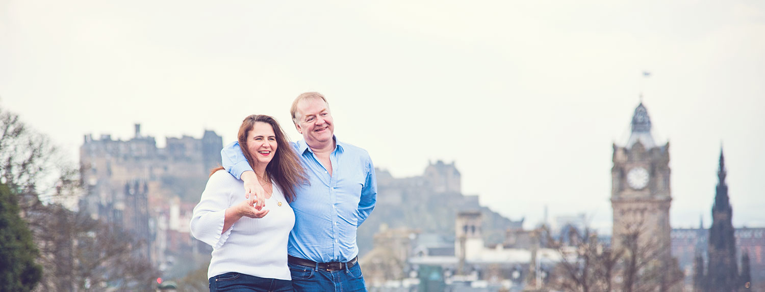 Mo and me on Calton Hill in Edinburgh, pre-shoot model