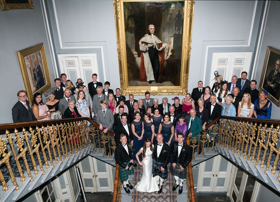 This is also a great opportunity to take a photo of all your wedding guests together, Signet Library Wedding Venue Edinburgh