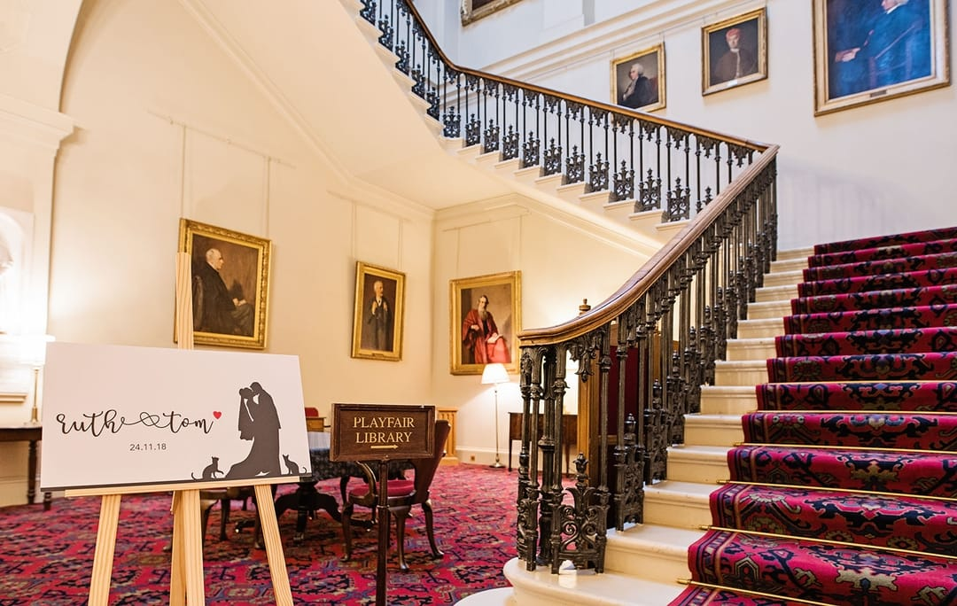 The grand staircase to the Library Hall. This is also good for take photos of large groups of people, should the weather not be the best outside, Playfair Library Wedding Venue Edinburgh
