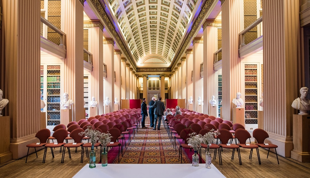 The view from the front of the ceremony towards the seating area, before the wedding ceremony took place, Playfair Library Wedding Venue Edinburgh