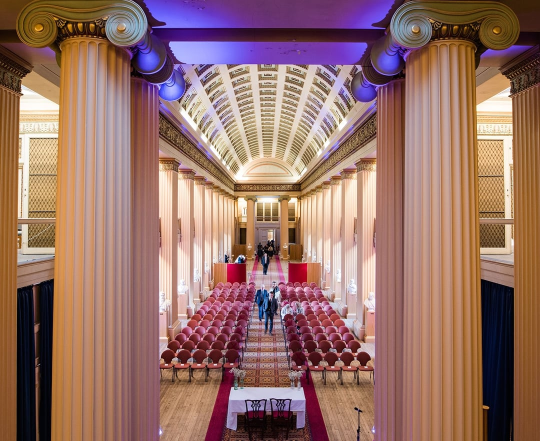 The higher angle emphasises the size and scale of the Playfair Library, Playfair Library Wedding Venue Edinburgh