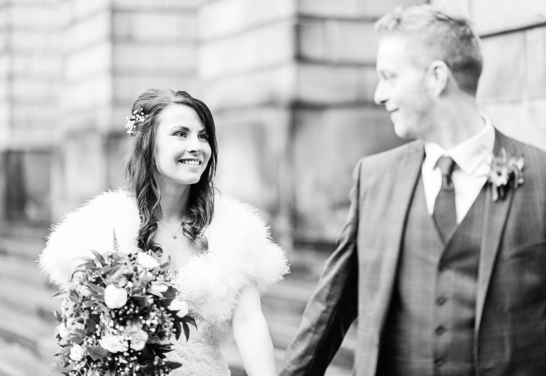 The sandstone gives the perfect background for skin tones in black and white, Playfair Library Wedding Venue Edinburgh