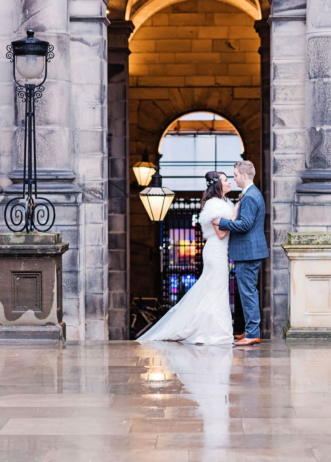 The magic rain brings are enchanting reflections on the wet surfaces, Playfair Library Wedding Venue Edinburgh