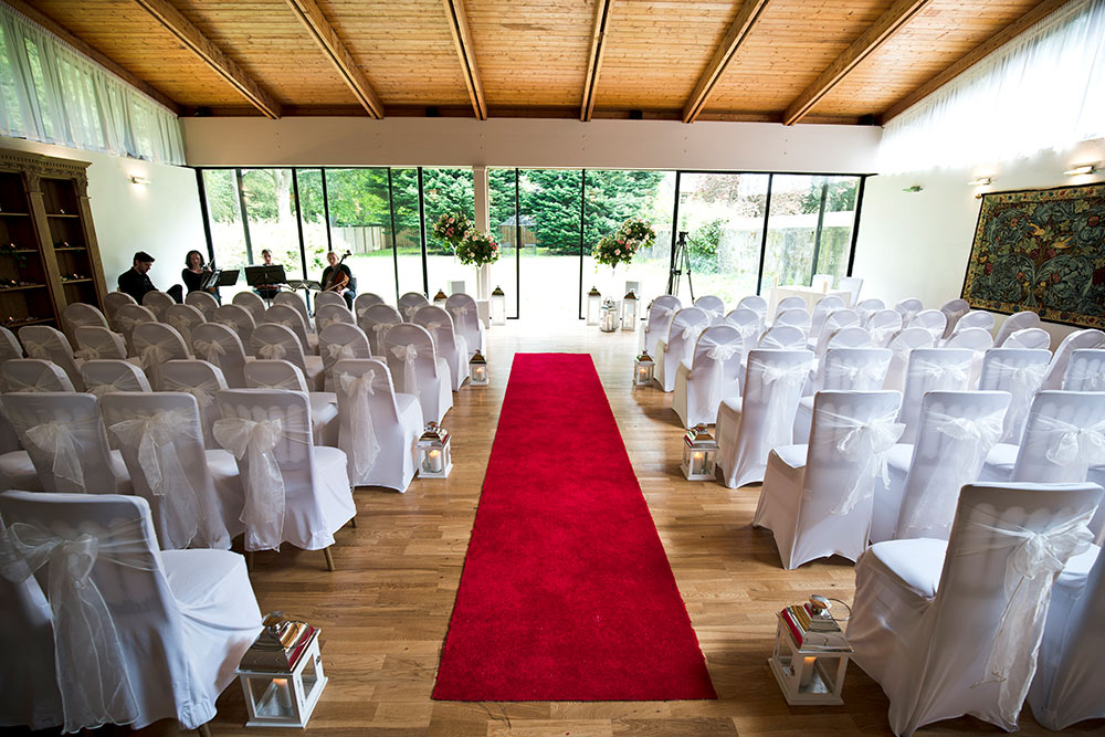 The private chapel is bright, well lit and spacious, Carberry Tower Wedding Venue near Edinburgh