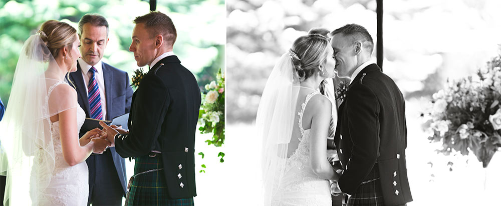 The bride and groom taking their vows, Carberry Tower Wedding Venue near Edinburgh
