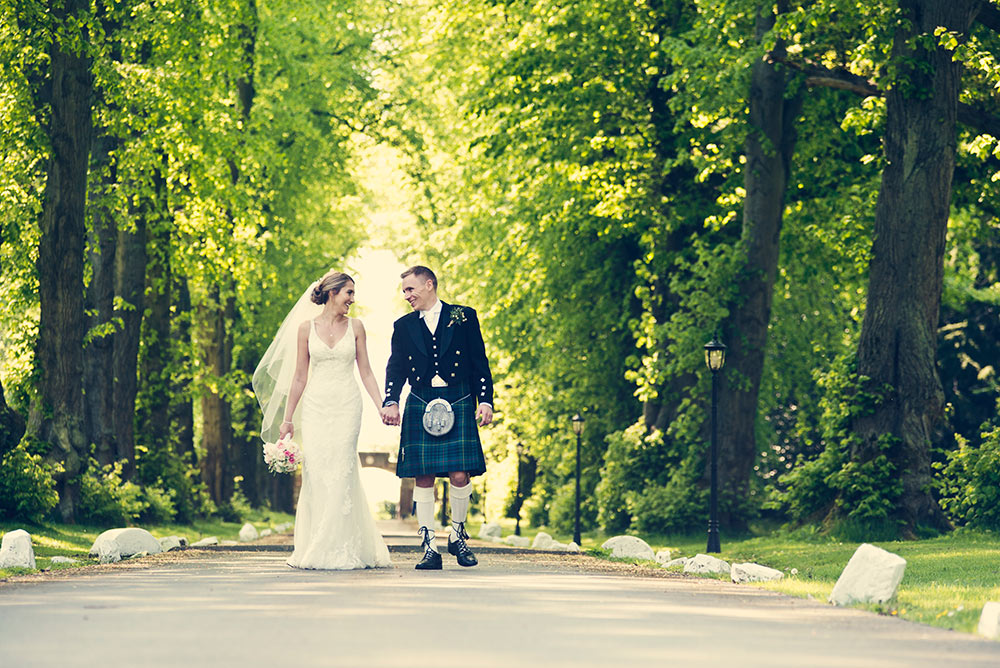The gentleness of the greenery allows the couple to glow, Carberry Tower Wedding Venue near Edinburgh