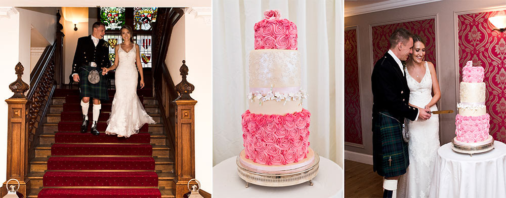 The Tower has many processional spaces, like used here for the cutting of the cake, Carberry Tower Wedding Venue near Edinburgh