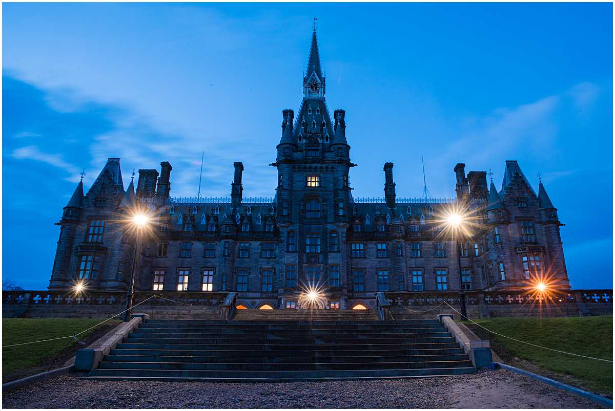 Fettes College at night Edinburgh Wedding