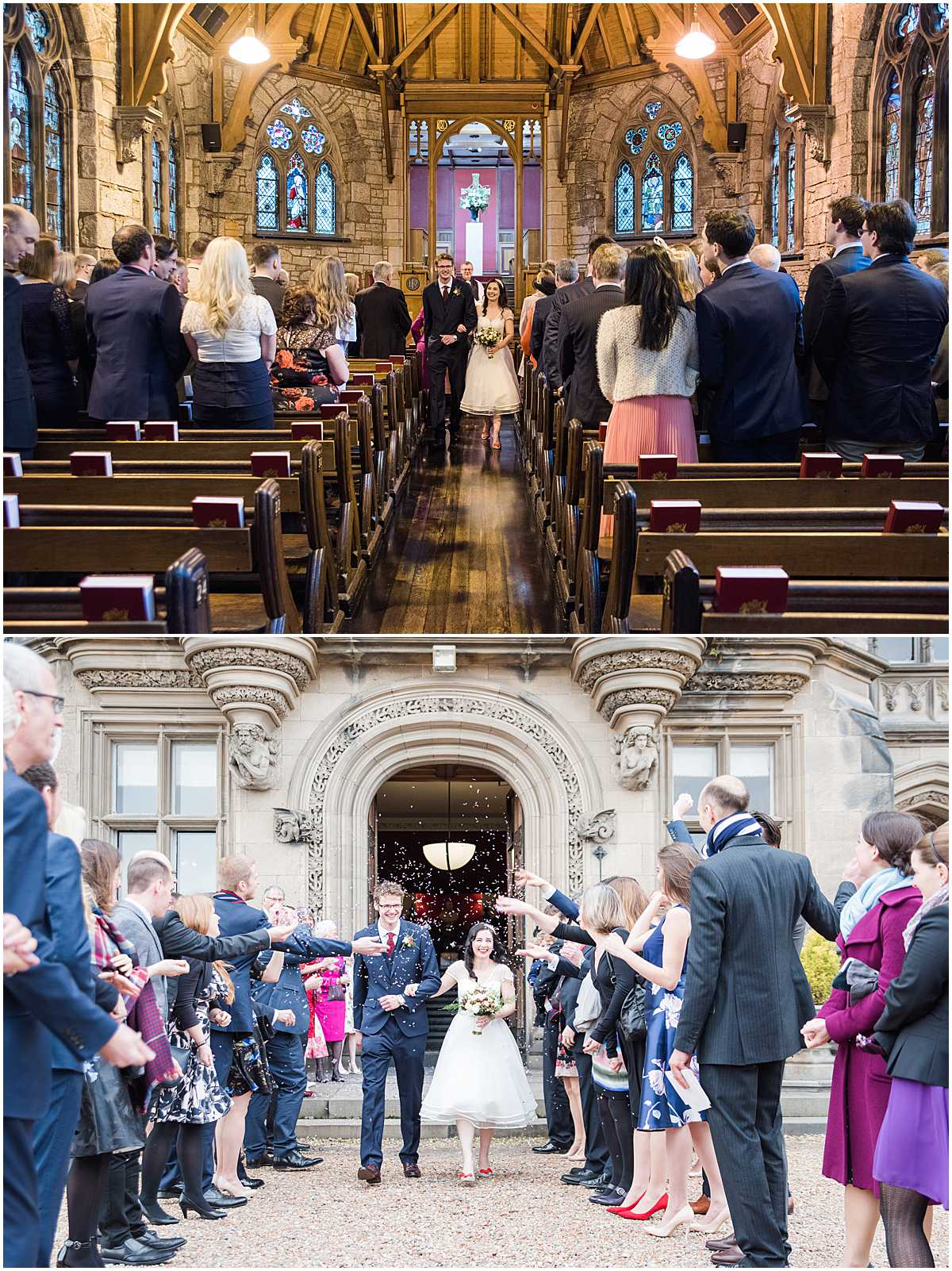 Confetti at Fettes College Edinburgh Wedding Photographs