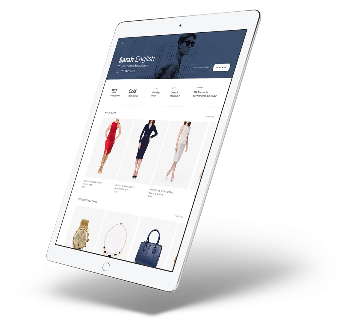 PredictSpring Clienteling Store Apps - Example of A Client Profile Page