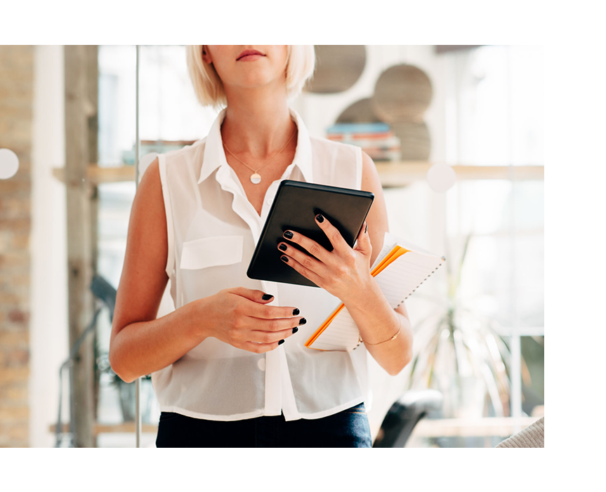 Store Associate holding iPad heading to store associate app training | PredictSpring