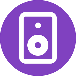 Purple Round Speaker Icon