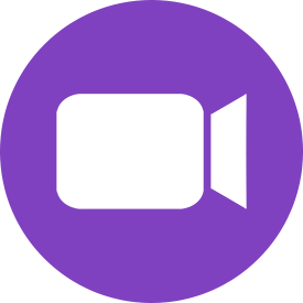 Purple Round Video Conference Icon