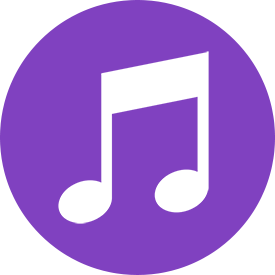 Purple Round Music Note Icon