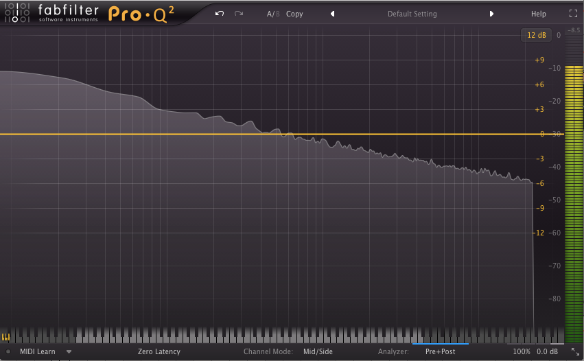 An image of pink noise run through FabFilter's Pro-Q 2.