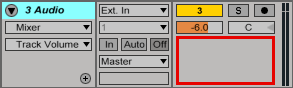 An image of the Sends section of the track mixer in Ableton.