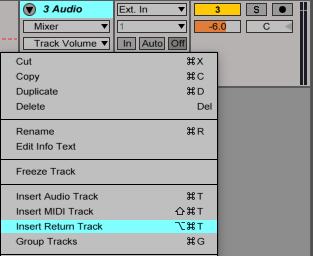 An image describing how to insert returns tracks in Ableton.
