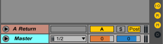 An image of displayed return tracks in Ableton.