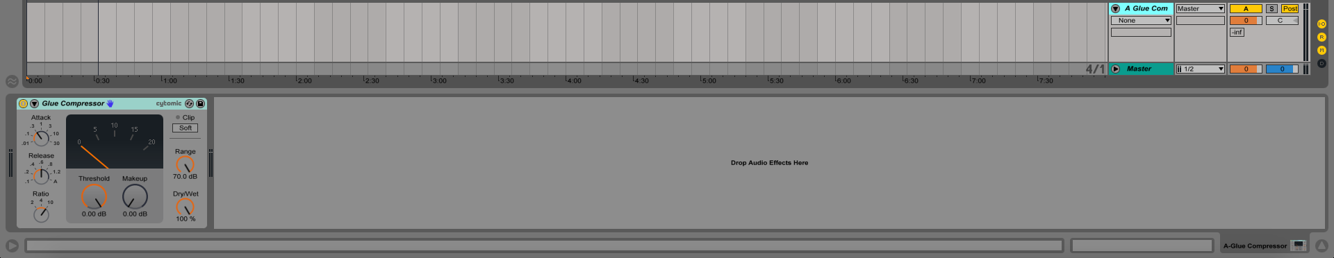 An image of Ableton's Glue Compressor on a return track.