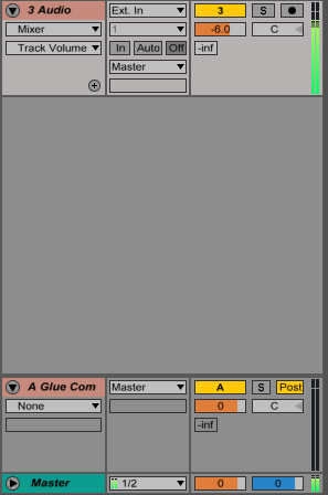 An image of no audio being sent to a return track in Ableton.