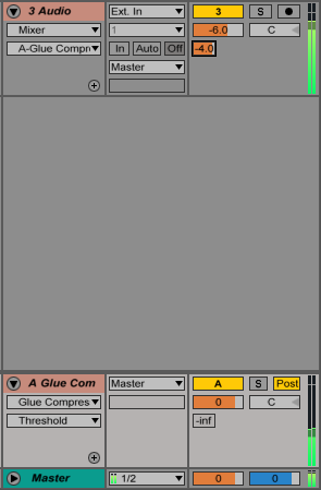 An image of audio being sent to a return track in Ableton.