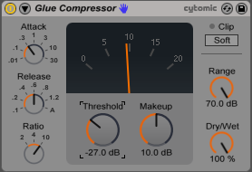 An image of recommended heavy glue compression settings for parallel compression.