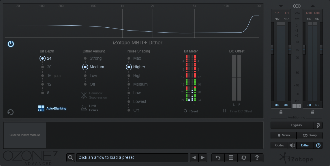 An image of iZotope Ozone's Dither module.