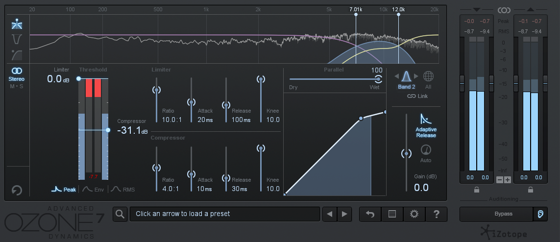An image of recommended de-esser settings using iZotope Ozone 7's Dynamics module.