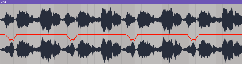 An image of gain reduction applied to consonants using Ableton's Utility.