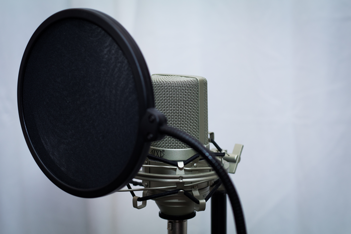 An image of a pop filter attached to a microphone stand.