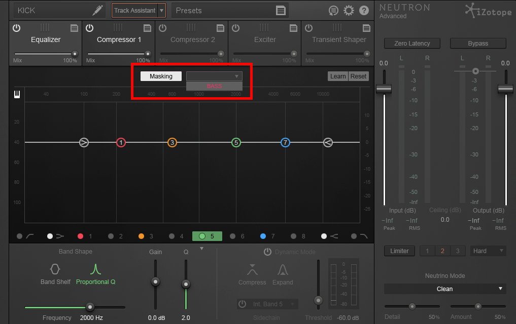 An image of iZotope Neutron's masking feature.