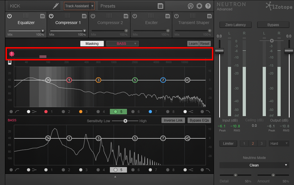 An image of iZotope Neutron's frequency buildup display.
