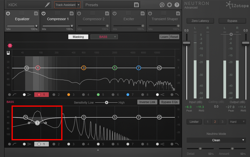 An image of attenuated bass frequencies in iZotope's Neutron.