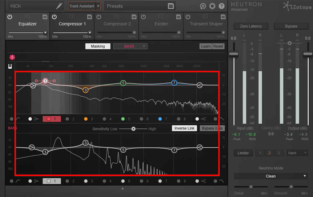 An image of inverse link engaged in iZotope's Neutron.