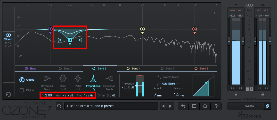 An image of the band controls in iZotope Ozone 7's Dynamic EQ.