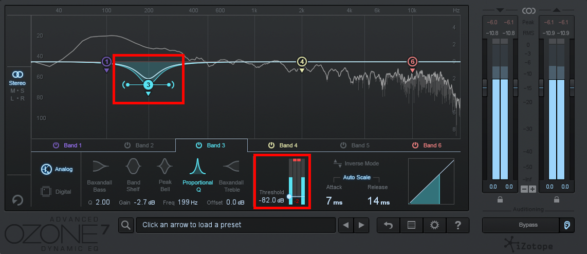 An image of band threshold in iZotope Ozone 7's Dynamic EQ.