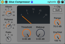 An image of Ableton's Glue Compressor.
